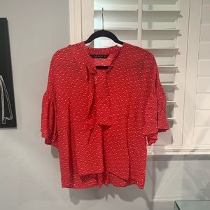 Zara Red Patterned Neck Tie Blouse
